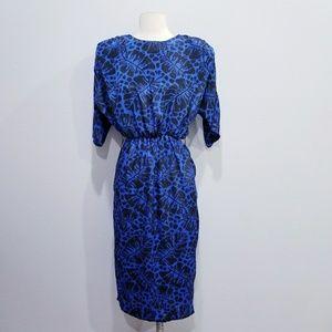 Vintage 80's retro blue print dress SMALL